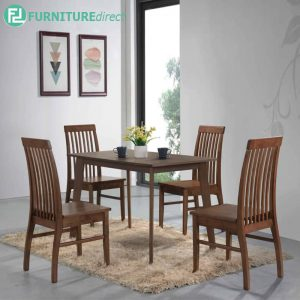 EASTPOM dining set 4 seater set-walnut