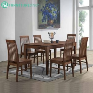 ESTESNE dining set 6 seater set-walnut