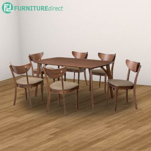 HERMES WAKO dining set 6 seater - Full Solid Rubberwood - walnut