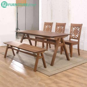 VAILDUN dining set 6 seater set-walnut