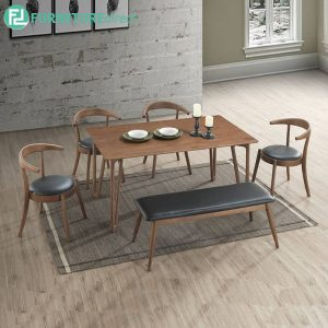AUCKCHORSEA 6 seater dining set with bench-walnut