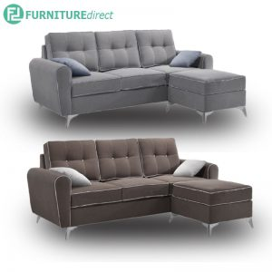 MIA 3 seater fabric L shaped sofa with foot stool-free 2 pillows