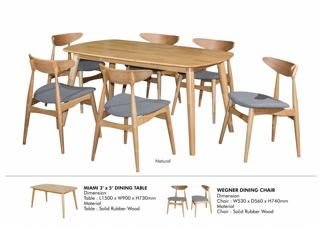 Remarkable Miami Wenger Full Solid Rubberwood 6 Seater Dining Set Interior Design Ideas Philsoteloinfo