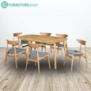 MIAMI WENGER full solid rubberwood 6 seater dining set