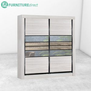 2701 anti jump sliding door wardrobe with mirror- Natural