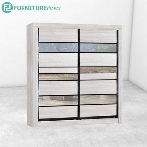 2703 anti jump sliding door wardrobe with mirror- Natural