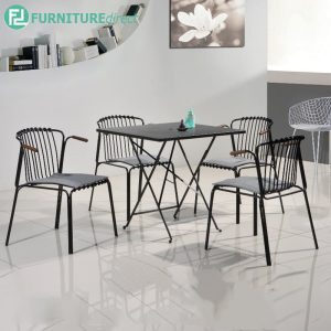 NORTHAM metal chair with grey cushion and square table - Black