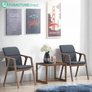 LAUPRISE end table + CLEGATE 2 chairs full solid rubberwood