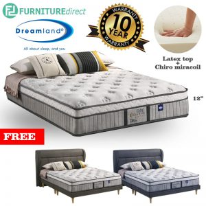 "DREAMLAND Chiro Exclusive 12"" miracoil queen mattress with free bedframe"