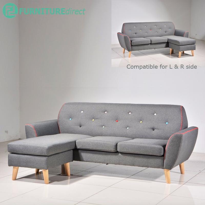 JESSLYN 3 seater L shaped fabric sofa