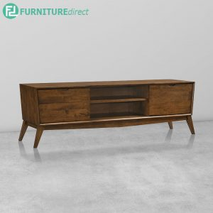 CURVE 6ft Hall Cabinet Full Rubberwood - Walnut