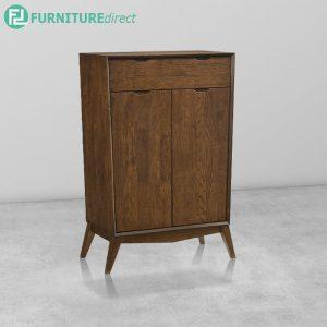 CURVE Shoe Cabinet Full Rubberwood - Walnut