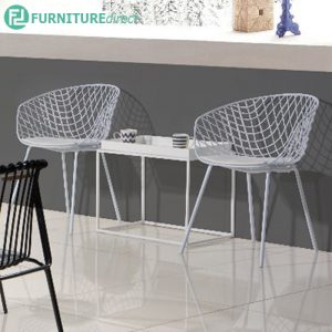 ASTORIA metal chair with cushion and coffee table - WHITE