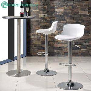 CAIMAX bar chair with cushion and chrome bar table - WHITE