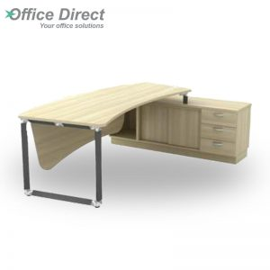 Q-OXR2463 Director Table Set with 3 drawers - Maple