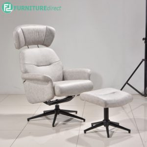 GLEWOOT recliner chair with 360 degree swivel + stool - GREY