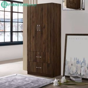 ETHAN 2 door 2 drawers wardrobe with key lock-walnut