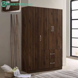 ETHAN 3 door 2 drawers wardrobe-walnut