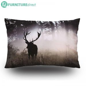 Forest stag 45x30cm cotton printed cushion
