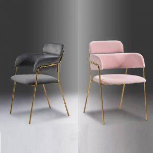 GENOA velvet fabric arm chair with gold chrome legs