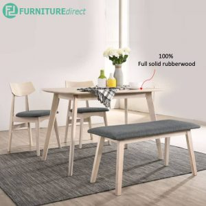 KALMAR full solid rubberwood 4 seater dining set with bench