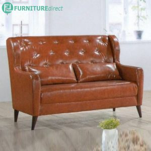 13088 synthetic leather retro style sofa set with diamond-1+2+3 seater