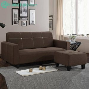 SF9817 L shaped 3 seater velvet fabric sofa with stool