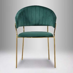 VERONA velvet fabric dining chair with gold chrome legs