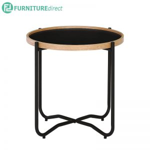 TANIX (Ø49.5cm) Side Table - Black color top