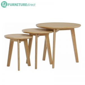 ORIEL (Ø31,36,51cm) Set-of-3 Nesting Tables - Solid Rubberwood