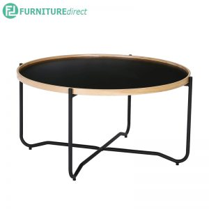 TANIX (Ø81.5cm) Coffee Table - Black color top