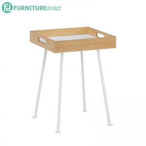 GABLE (Square 40cm) Side Table with Portable Tray - 2 colors