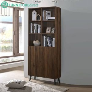 BC9001 two door bookcase in walnut color