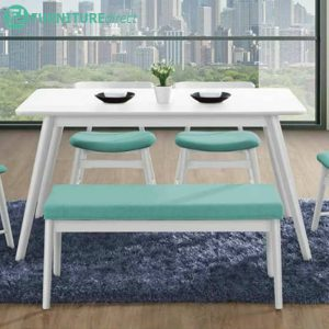 CLEMENTINE 140x80cm full solid rubberwood dining table-white