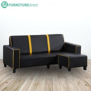 N969 PVC 3 seater L shaped sofa-black