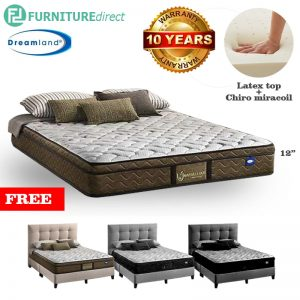 "DREAMLAND Chiro Maverllous 12"" miracoil Latex mattress with free bedframe-Queen"