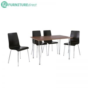 MIZELL (L120cm) 4 seater dining set - Black and Walnut