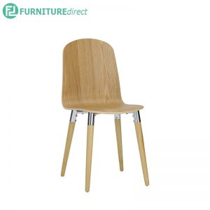 VESTA (40cm) Side Chair - Full Solid Rubberwood - Oak / Walnut