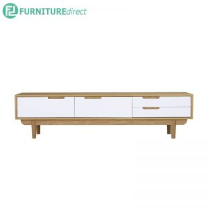 NAKULA TV Console 180cm (6ft) - Solid Rubberwood - Oak body - 2 color door
