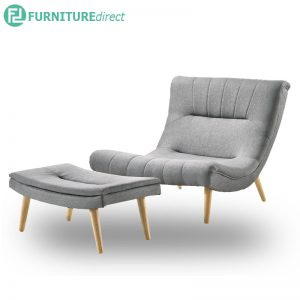 TIMMY fabric lounge chair with stool-Grey
