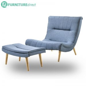 TIMMY fabric lounge chair with stool-Blue