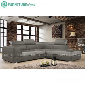 VIENNA PU leather L shaped sofa with recline head rest