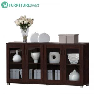 TAD HALLIE 4 door cabinet storage rack - Walnut