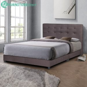 TAD AMIRA water repellent fabric divan king bed frame - brown