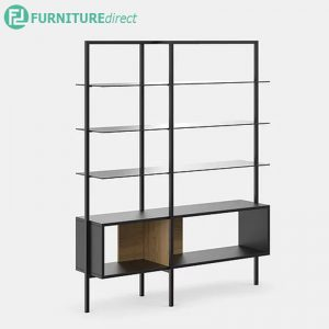 GARIS 3 tier center glass shelving divider bookcase