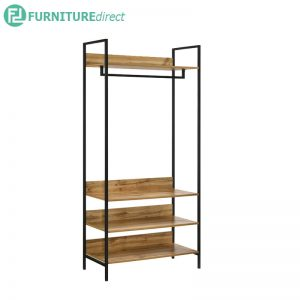 TAD NORMAD industrial deisng big garment rack with shelves - oak