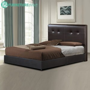 TAD GIOVANNI waterproof PVC divan queen bed frame-dark brown