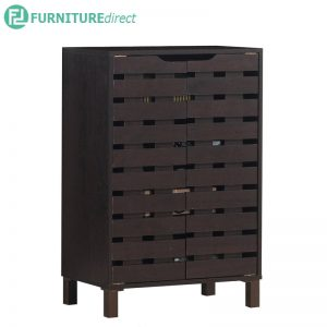 TAD TROIS 2 door shoe rack cabinet with good air ventilation - Walnut