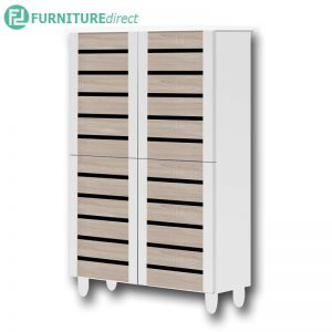 TAD ENYA 4 door shoe rack cabinet - Oak / White