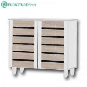 TAD ENYA 2 door shoe rack cabinet - Oak / White